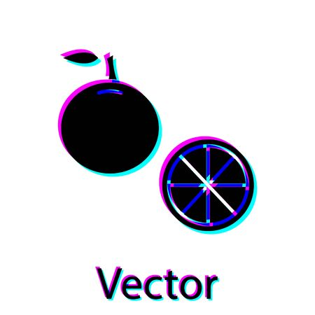 Black Orange fruit icon isolated on white background. Vector Illustration Çizim