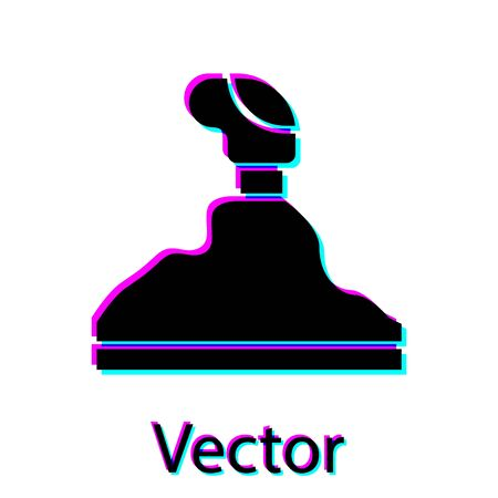 Black Gear shifter icon isolated on white background. Transmission icon. Vector Illustration