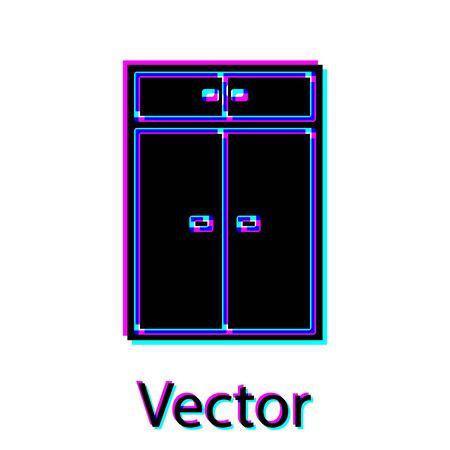 Black Wardrobe icon isolated on white background. Vector Illustration Ilustração