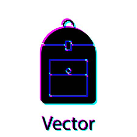 Black Backpack icon isolated on white background. Vector Illustration