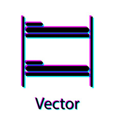 Black Bunk bed icon isolated on white background. Vector Illustration