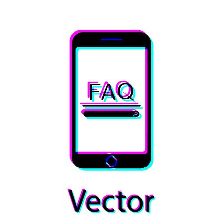 Black Mobile phone with text FAQ information icon isolated on white background. Frequently asked questions. Vector Illustration