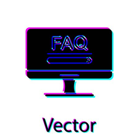 Black Computer monitor with text FAQ information icon isolated on white background. Frequently asked questions. Vector Illustration