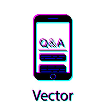 Black Mobile phone with Question and Exclamation icon isolated on white background. Frequently asked questions. Vector Illustration