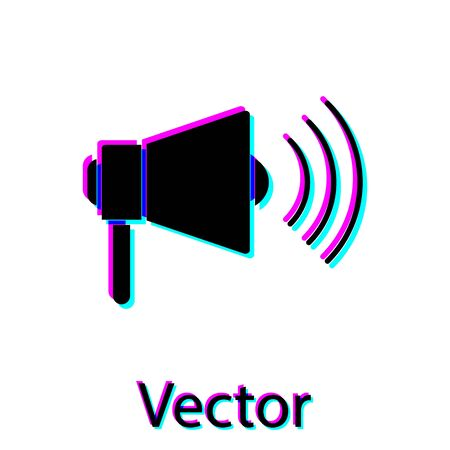 Black Megaphone icon isolated on white background. Loud speach alert concept. Bullhorn for Mouthpiece scream promotion. Vector Illustration
