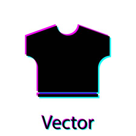 Black T-shirt icon isolated on white background. Vector Illustration