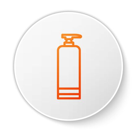 Orange line Cream or lotion cosmetic tube icon isolated on white background. Body care products for men. White circle button. Vector Illustration Illustration