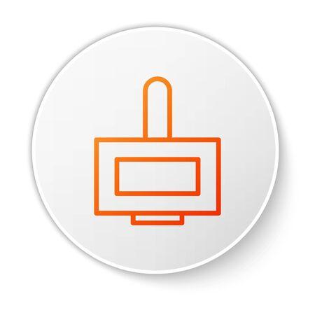 Orange line Nail polish bottle icon isolated on white background. White circle button. Vector Illustration Stock Illustratie