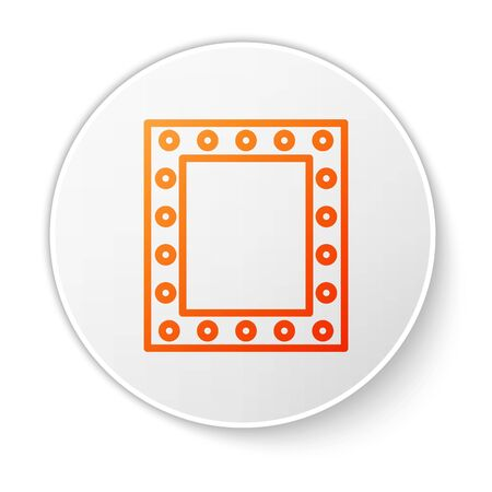 Orange line Makeup mirror with lights icon isolated on white background. White circle button. Vector Illustration Stock Illustratie