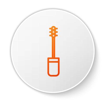 Orange line Mascara brush icon isolated on white background. White circle button. Vector Illustration