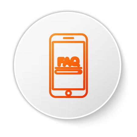 Orange line Mobile phone with text FAQ information icon isolated on white background. Frequently asked questions. White circle button. Vector Illustration Ilustrace