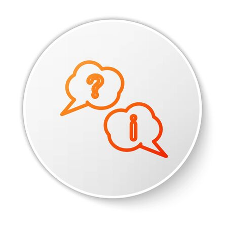 Orange line Speech bubbles with Question and Exclamation icon isolated on white background. FAQ sign. Copy files, chat speech bubble and chart. White circle button. Vector Illustration