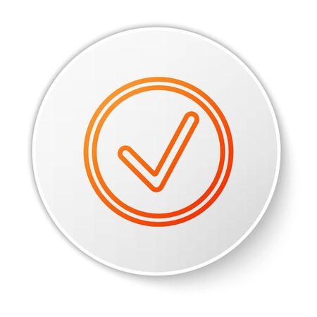 Orange line Check mark in circle icon isolated on white background. Choice button sign. Checkmark symbol. White circle button. Vector Illustration Ilustração
