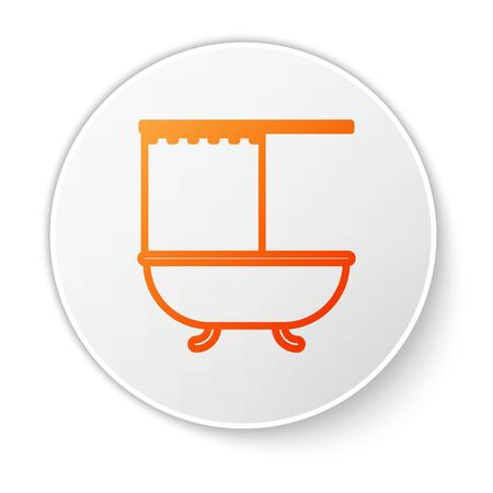 Orange line Bathtub with open shower curtain icon isolated on white background. White circle button. Vector Illustration