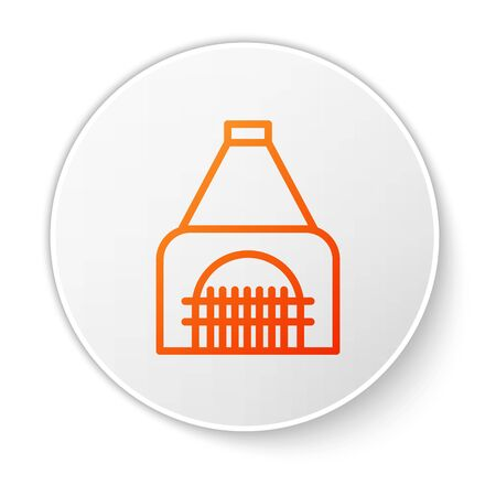 Orange line Interior fireplace icon isolated on white background. White circle button. Vector Illustration Banque d'images - 138188162