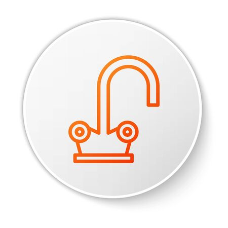 Orange line Water tap icon isolated on white background. White circle button. Vector Illustration Vector Illustration