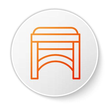 Orange line Chair icon isolated on white background. White circle button. Vector Illustration Foto de archivo - 138189785