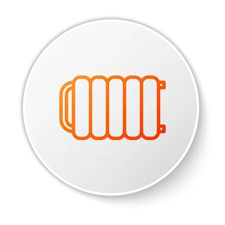 Orange line Heating radiator icon isolated on white background. White circle button. Vector Illustration