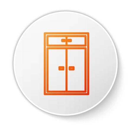 Orange line Wardrobe icon isolated on white background. White circle button. Vector Illustration