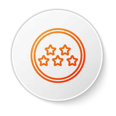 Orange line Five stars customer product rating review icon isolated on white background. Favorite, best rating, award symbol. White circle button. Vector Illustration Foto de archivo - 138184566