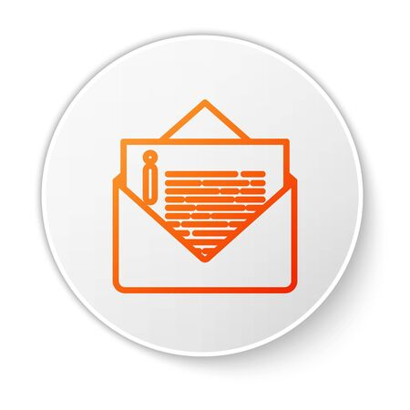 Orange line Envelope icon isolated on white background. Email message letter symbol. White circle button. Vector Illustration