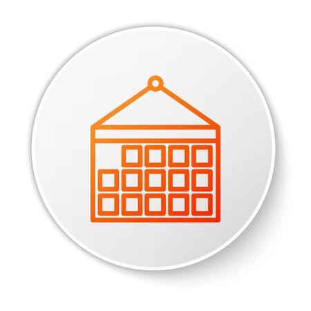 Orange line Calendar icon isolated on white background. Event reminder symbol. White circle button. Vector Illustration Stock Illustratie