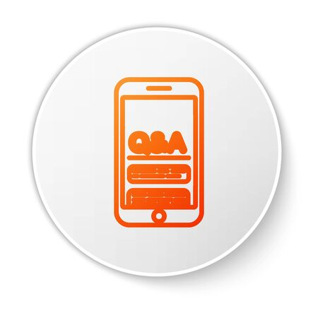 Orange line Mobile phone with Question and Exclamation icon isolated on white background. Frequently asked questions. White circle button. Vector Illustration Ilustrace