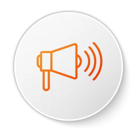 Orange line Megaphone icon isolated on white background. Loud speach alert concept. Bullhorn for Mouthpiece scream promotion. White circle button. Vector Illustration