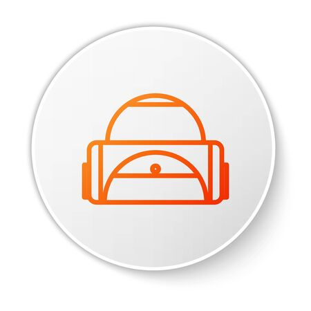 Orange line Sport bag icon isolated on white background. White circle button. Vector Illustration
