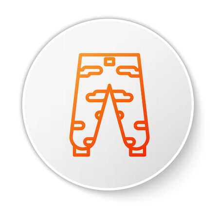Orange line Camouflage cargo pants icon isolated on white background. White circle button. Vector Illustration