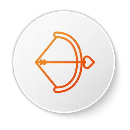 Orange line Bow and arrow icon isolated on white background. Cupid symbol. Love sign. Valentines day concept. White circle button. Vector Illustration
