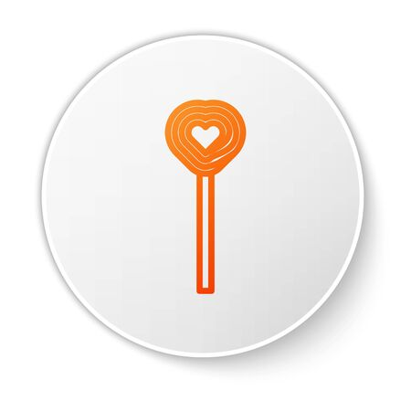 Orange line Lollipop icon isolated on white background. Candy sign. Food, delicious symbol. Valentines day. Love symbol. White circle button. Vector Illustration