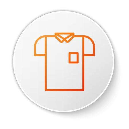 Orange line Polo shirt icon isolated on white background. White circle button. Vector Illustration Ilustracja