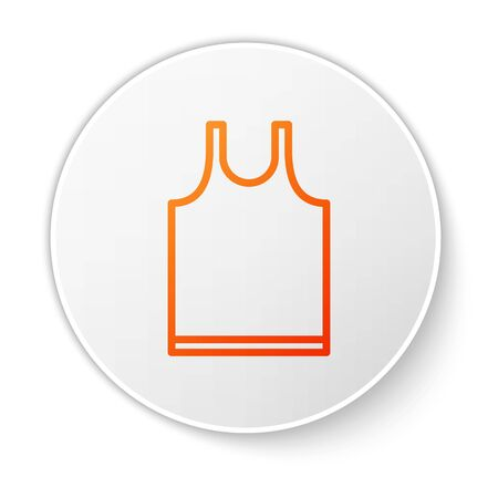 Orange line Sleeveless T-shirt icon isolated on white background. White circle button. Vector Illustration