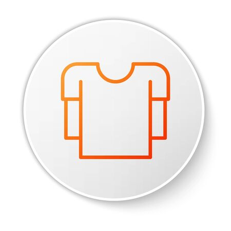 Orange line Long sleeve shirt icon isolated on white background. White circle button. Vector Illustration