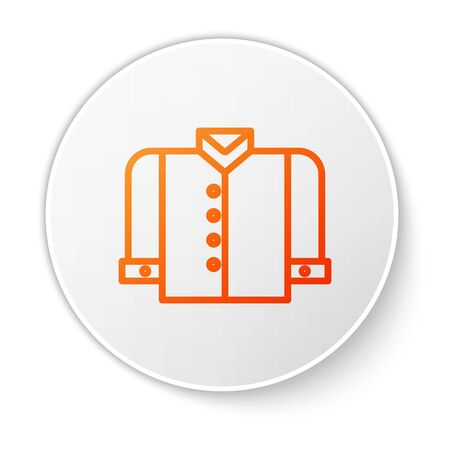 Orange line T-shirt icon isolated on white background. White circle button. Vector Illustration