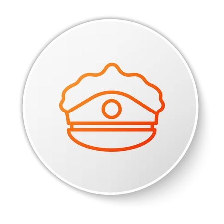 Orange line Police cap with cockade icon isolated on white background. Police hat sign. White circle button. Vector Illustration Ilustracja