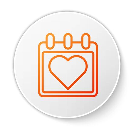 Orange line Calendar with heart icon isolated on white background. Valentines day. Love symbol. February 14. White circle button. Vector Illustration Stock Vector - 138184790