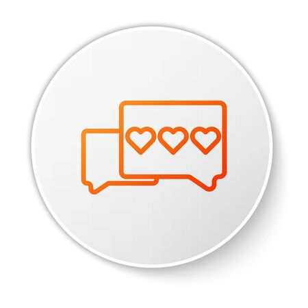 Orange line Like and heart icon isolated on white background. Counter Notification Icon. Follower Insta. White circle button. Vector Illustration Çizim