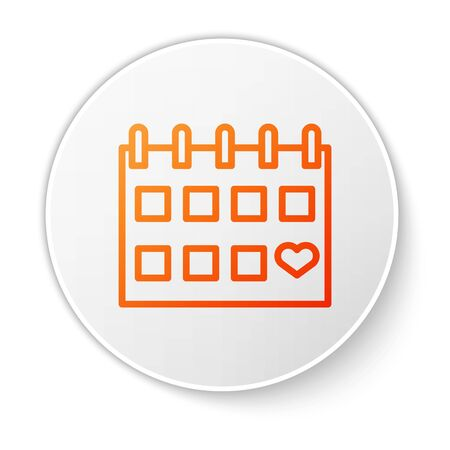 Orange line Calendar with heart icon isolated on white background. Valentines day. Love symbol. February 14. White circle button. Vector Illustration