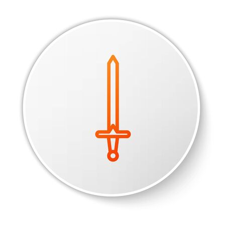 Orange line Medieval sword icon isolated on white background. Medieval weapon. White circle button. Vector Illustration