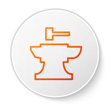 Orange line Anvil for blacksmithing and hammer icon isolated on white background. Metal forging. Forge tool. White circle button. Vector Illustration