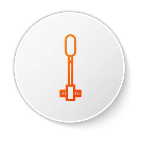 Orange line Torch flame icon isolated on white background. Symbol fire hot, flame power, flaming and heat. White circle button. Vector Illustration Ilustrace