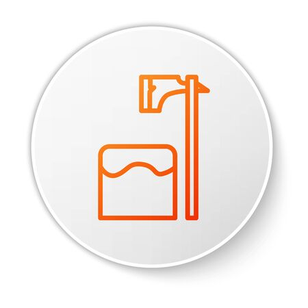 Orange line Executioner axe in tree block icon isolated on white background. Hangman, torturer, executor, tormentor, butcher, headsman. White circle button. Vector Illustration