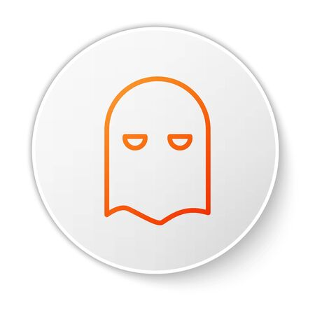 Orange line Executioner mask icon isolated on white background. Hangman, torturer, executor, tormentor, butcher, headsman icon. White circle button. Vector Illustration Иллюстрация
