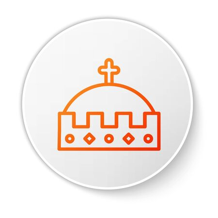 Orange line King crown icon isolated on white background. White circle button. Vector Illustration 向量圖像