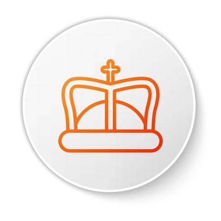 Orange line King crown icon isolated on white background. White circle button. Vector Illustration 版權商用圖片 - 138190055