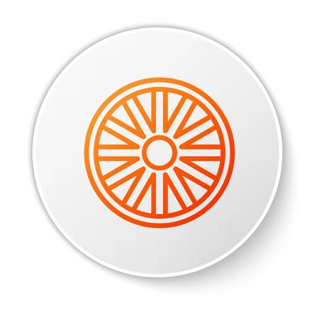Orange line Old wooden wheel icon isolated on white background. White circle button. Vector Illustration