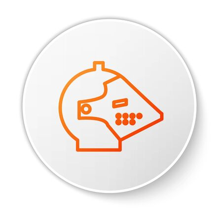 Orange line Medieval iron helmet for head protection icon isolated on white background. White circle button. Vector Illustration