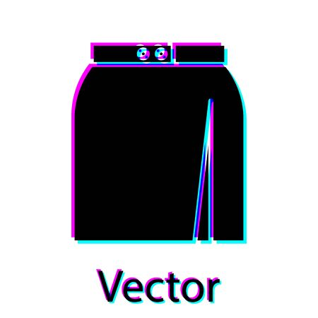 Black Skirt icon isolated on white background. Vector Illustration